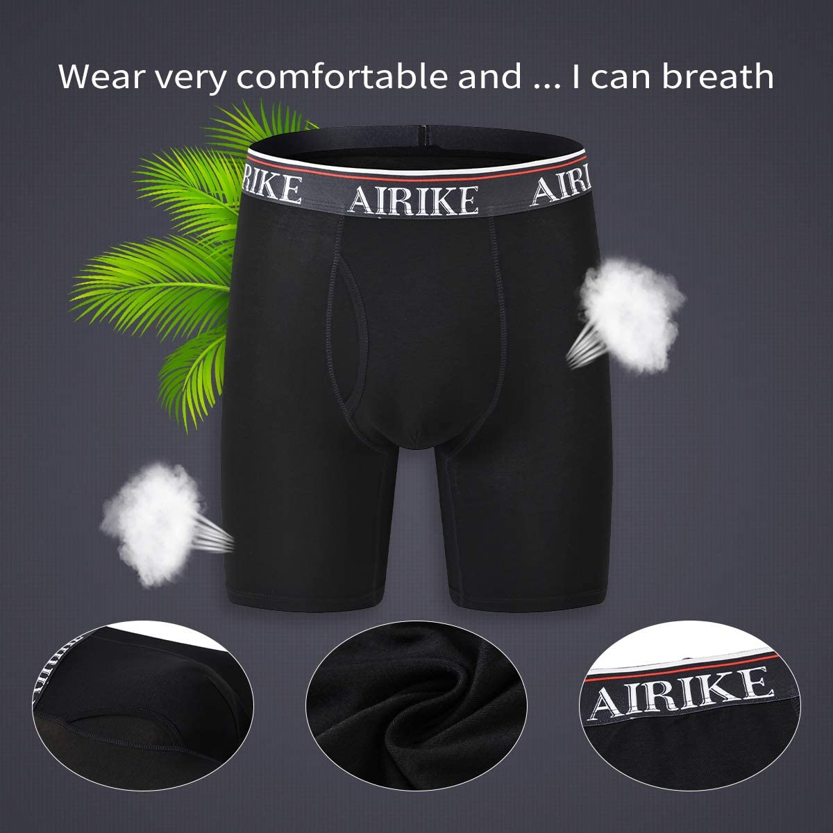 AIRIKE Boxer Briefs Men Pack Ultra Long Leg Soft Bamboo Black Underwear Big Size and Tall Underpants for Men