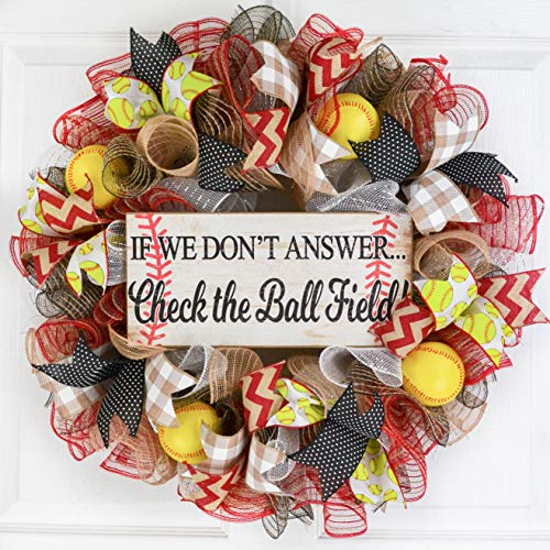 Softball Ball Field Mesh Door Wreath; If We