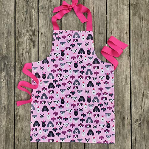 Handmade Pink Dogs Girl Gift Apron for Crafts Art Kitchen from Sara Sews, Inc.