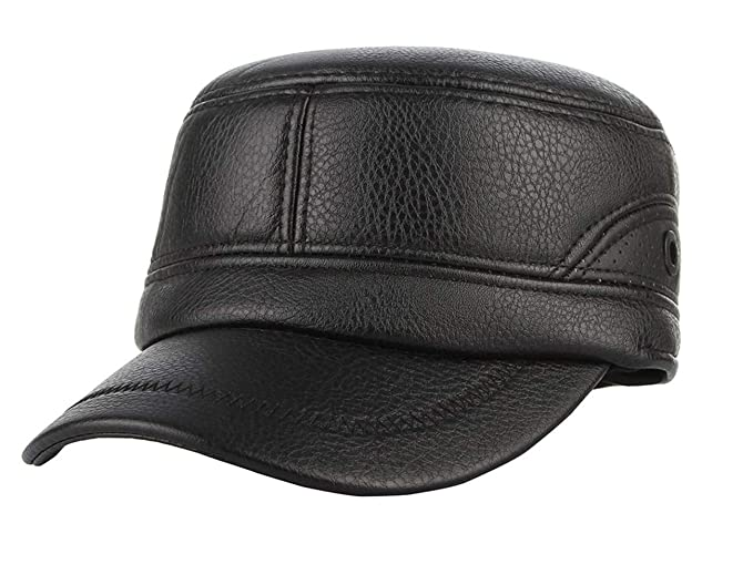 GEMVIE Men s PU Leather Military Cadet Cap Windproof Warm Winter Earflaps Flat  Top Army Cap Baseball 4ffc1df8a111