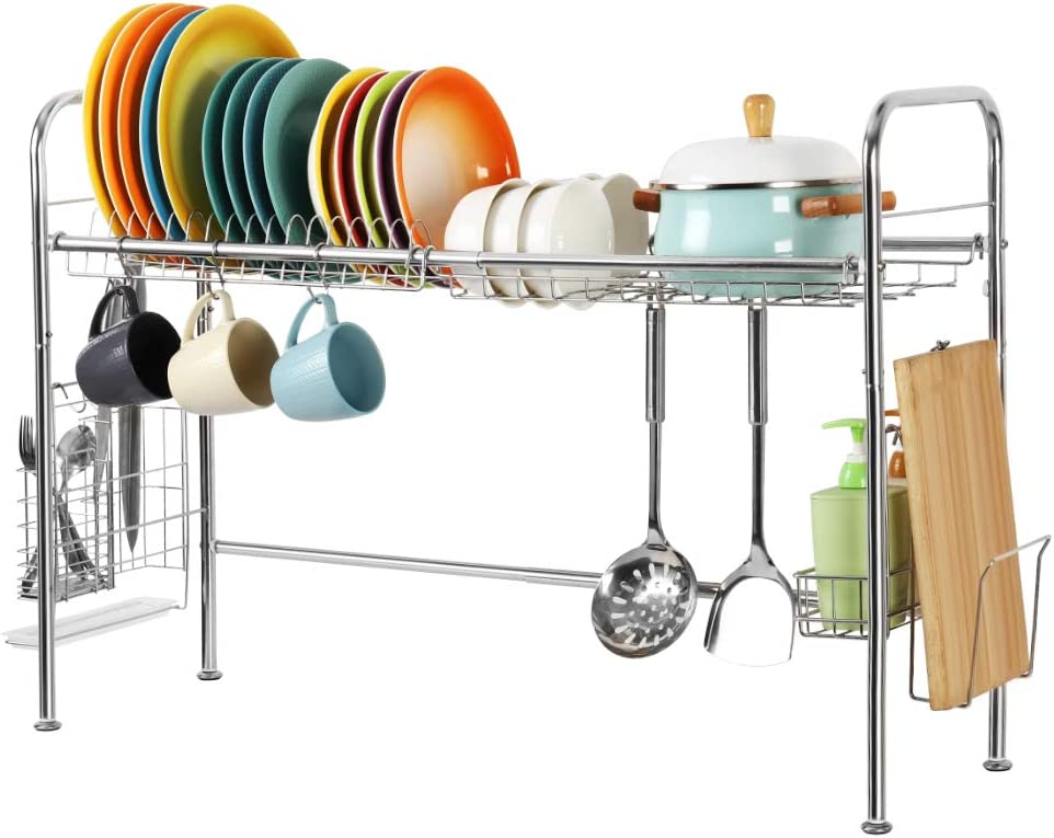 HEOMU Over The Sink Dish Drying Rack,Single-Tier 304 Stainless Steel Dish Rack with Chopsticks Storage Basket-Silver