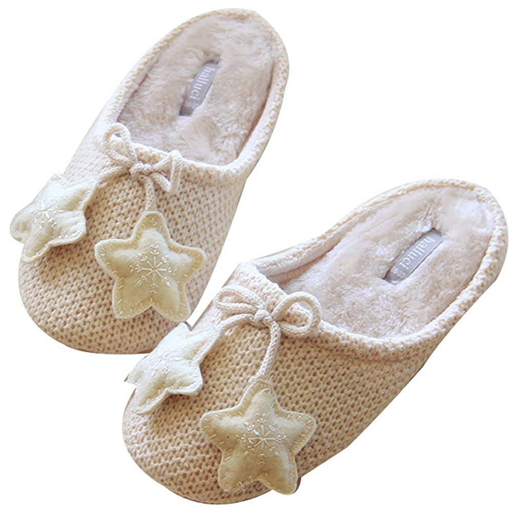 FreLO Womens Cream Knitted Cotton Stars Comfortable Warm Slippers Bedroom Slippers