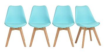 Lot de chaises aqua tendance scandinave plastique pp simili pu