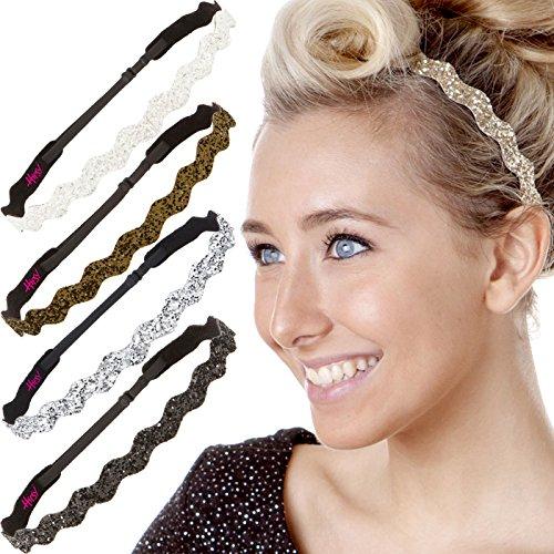 Hipsy 5pk Women's Adjustable NO SLIP Wave Bling Glitter Headband Multi Gift Pack (Gold/Black/Silver/Brown/White)