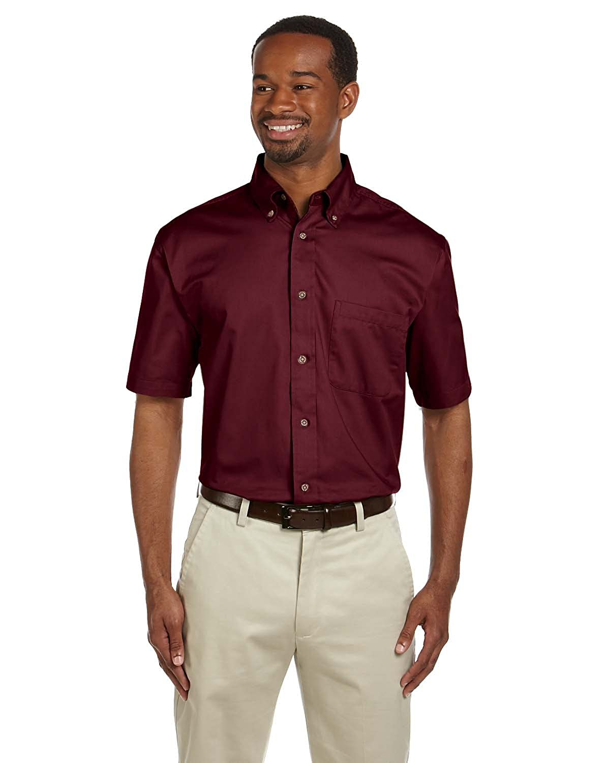 Harriton Mens Short Sleeve Twill Button Down Dress Shirt with Stain-Release .