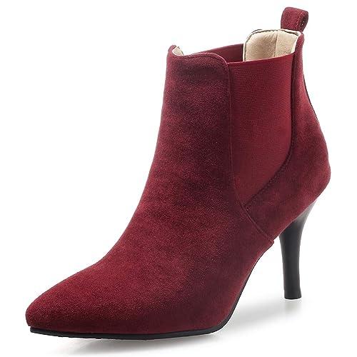 2121da03a8d OALEEN Bottines Femme Vintage Effet Daim Enfiler Talon Aiguille Chaussures  Boots Pointu Hiver Bordeaux 32