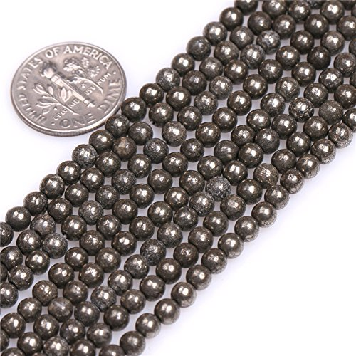 4mm Natural Semi Precious Round Silver Gray Pyrite Gemstone Beads for Jewelry Making Strand 15
