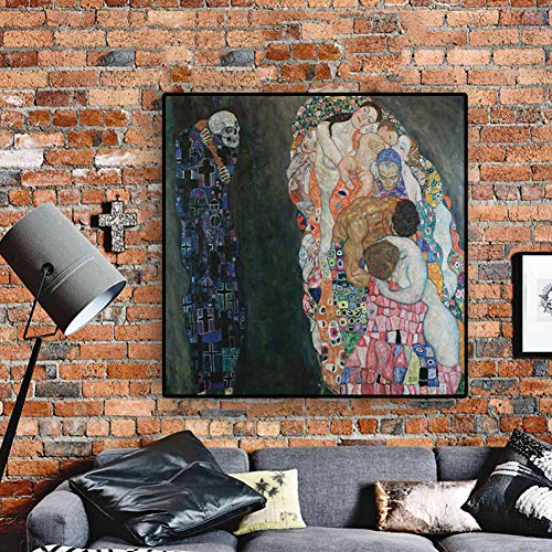 YJFFBH Gustav Klimt Death and Life Reproduction Oil Painting On Canvas Scandinavian Art Posters and Prints Wall Picture for Living Room ()