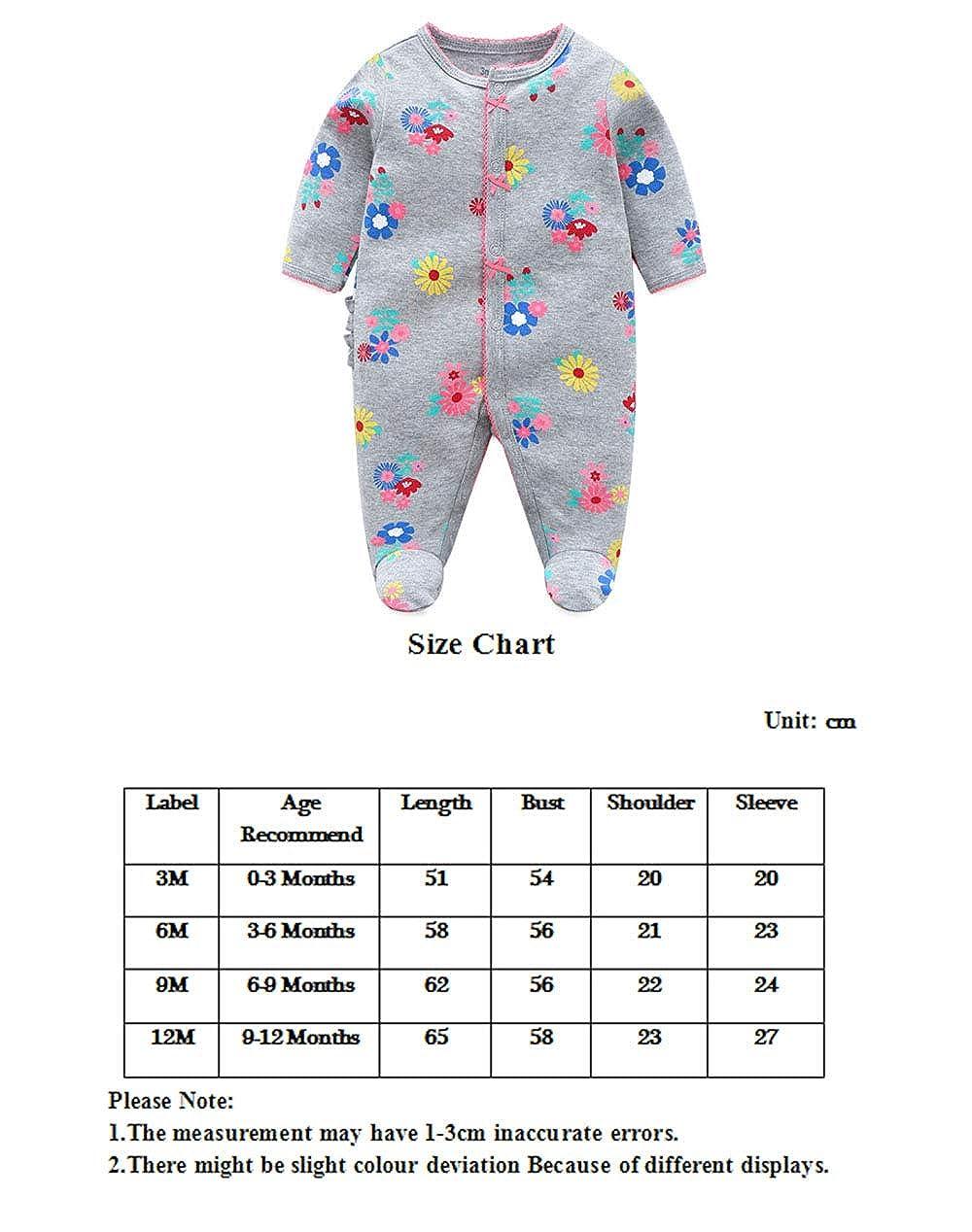 Reci/én Nacido Pijama Beb/é Pelele Ni/ñas Mameluco Algod/ón Caricatura Trajes 0-12 Meses
