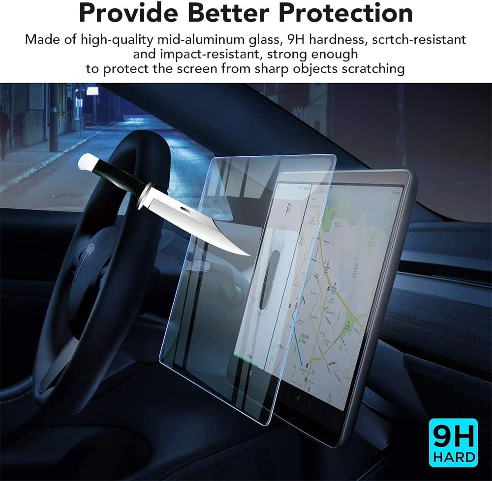 KIWISMART Screen Protector for Tesla Model 3 15 inch Center Control Touchscreen Car Navigation Touch Tempered Glass 9H Anti-Scratch Hit Resistant Screen Cover