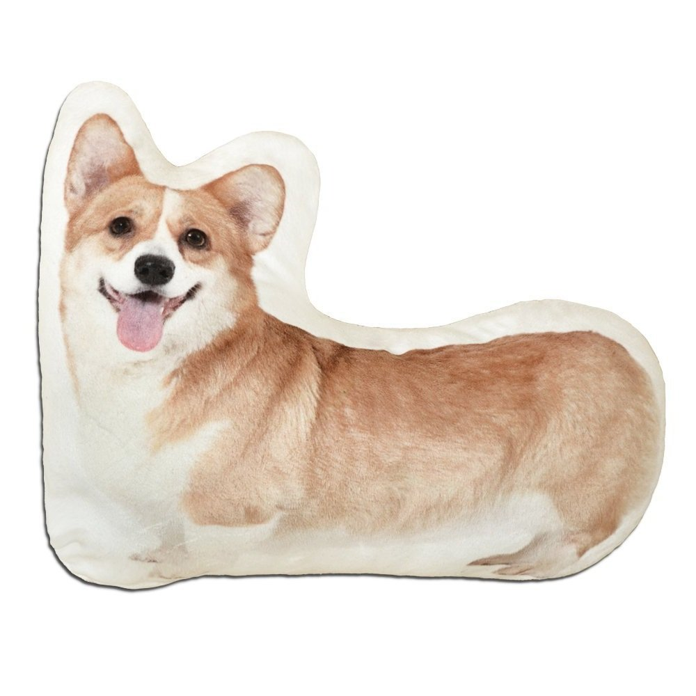 JWH 3D Dogs Accent Pillows Digital Print Cushions Decorative Stuffed Toys Home Sofa Car Bed Living Room Children Boys Gifts Corgi 12 x 15 Inch