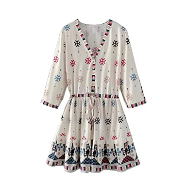 Paule Trevelyan boêmio NEW das mulheres mini dress impresso dividir praia férias dress bonito plissadas curtas