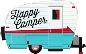 Open Road Brands Happy Campers Hitched Trailer Tin Metal Wall Art Sign - an Officially Licensed Product Great Addition to Add What You Love to Your Home/Garage Décor