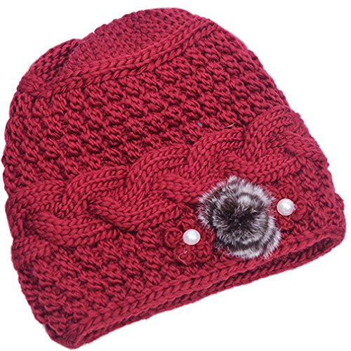 THENICE Women's Mother elderly Winter Skull Cap Fur Flowers velvet Knit Hat (red)