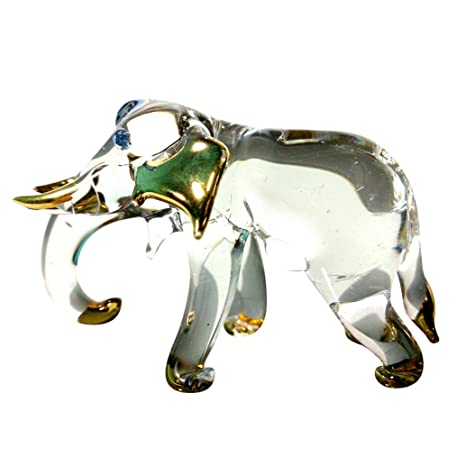 Glass Studio/Handcrafted Glass Glass Elephant Figurine Hand Craft Collectible Art Blown Animal Sculpture Set 6