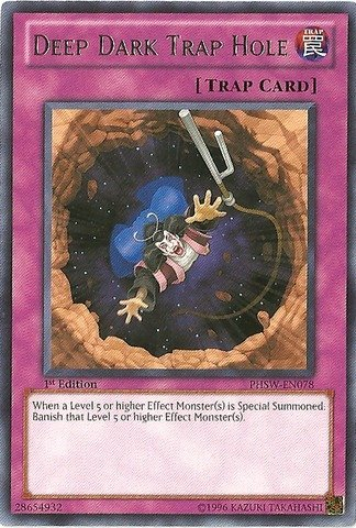 Yu-Gi-Oh! - Deep Dark Trap Hole (PHSW-EN078) - Photon Shockwave - 1st Edition - Rare Deep Dark Trap