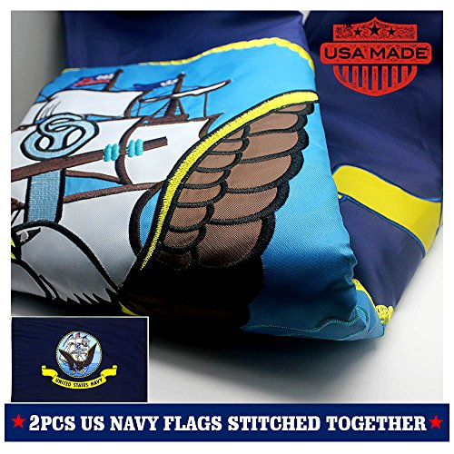 VSVO US Navy Flag 3x5ft 2-Sided Embroidered for Outside- Double Sewn Stripes and Brass Grommets, UV Protected, Long Lasting Nylon USA Navy Grommet Flag.