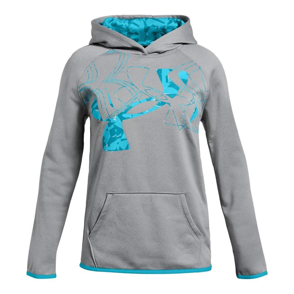 Under Armour Girls Armour Fleece Print Fill Logo Hoodie , Steel Light Heather (036)/Deceit, Youth Large