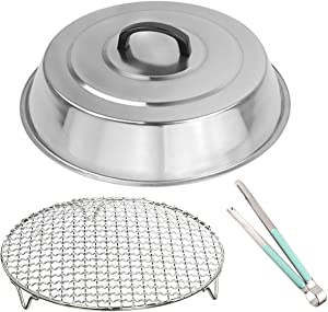 3-piece Multi-Purpose 12 Inch Round Stainless Steel Basting Cover Dome and Cooling Wire Racks and BBQ Tong, Best for Blackstone Camp Chef Flat Top Griddle grills Cooking