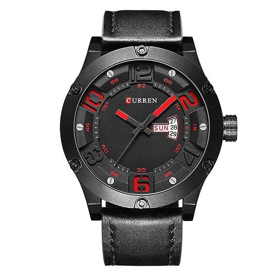 2017 nueva banda de marrón de piel auténtica Curren reloj de pulsera de cuarzo para hombre relojes primera marca black8251: Amazon.es: Relojes