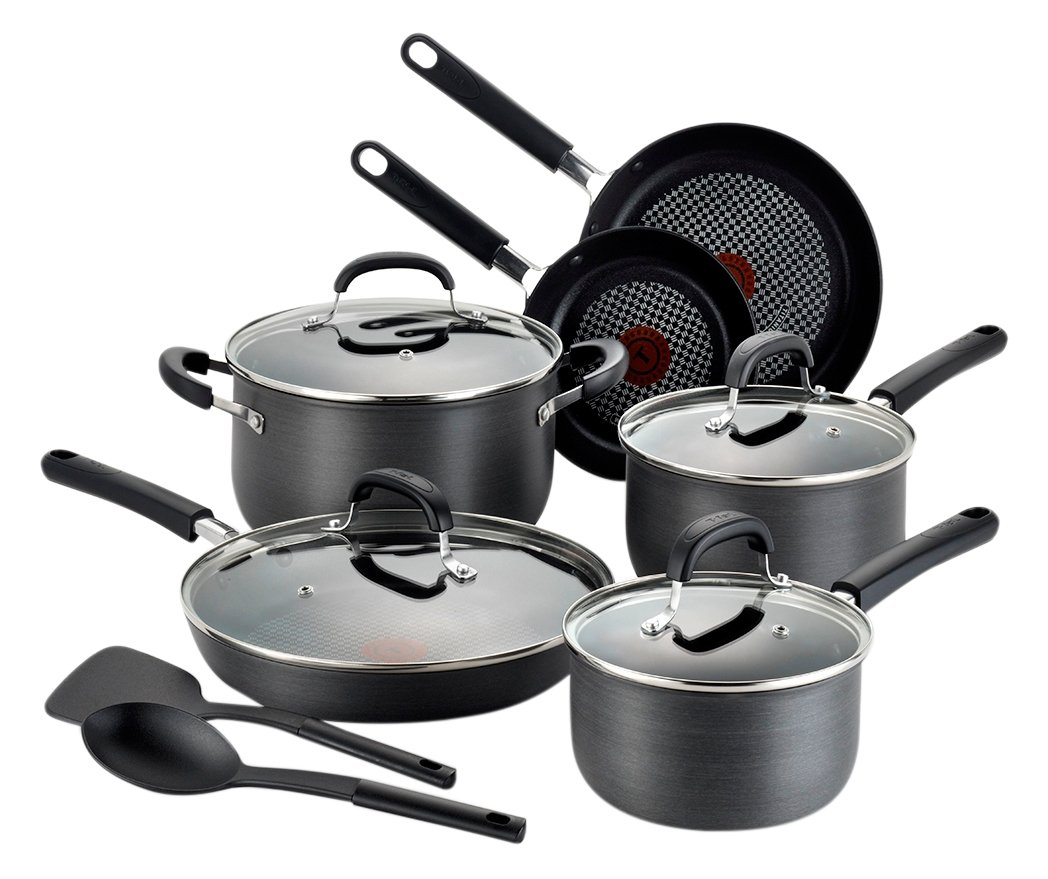 T-fal C037SC OptiCook Hard Anodized Thermo-Spot Scratch Resistant Titanium Nonstick Oven Safe PFOA Free Cookware Set, 12-Piece, Black by T-fal (Image #1)
