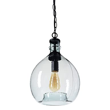 CASAMOTION Wavy Hammered Hand Blown Glass Pendant Light, 1 hanging Light, 11 diam.16.9 h, Gray Blue