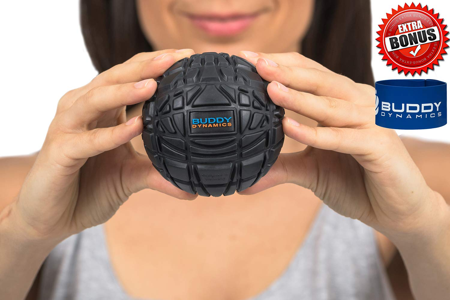 Buddy Dynamics Massage Ball with Resistance Band Included | Deep Tissue, Trigger Point Massage Ball to Fight Sore Muscles | Excellent for Muscle Recovery, Myofascial Release | Therapy Massage Ball
