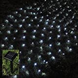 BMOUO 1Mx2M 120 LEDs String Lights Net Mesh Lights, Waterproof Solar Net Led String Lights for Outdoor, Gardens, Homes, Dancing, Christmas Party (Cold White)