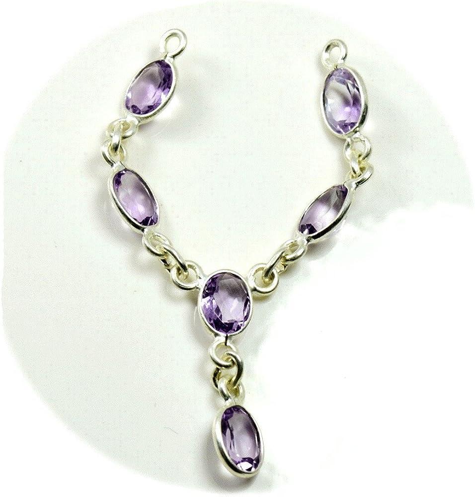 GemsOnClick - Collar de Plata de Ley con Piedra Morada y Amatista Ovalada Natural para Mujer
