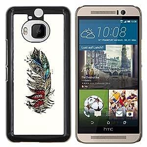Arte Pintura Dibujo Lápiz- Metal de aluminio y de plástico duro Caja del teléfono - Negro - HTC One M9+ / M9 Plus (Not M9)