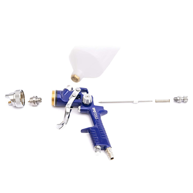Profi Farbspr/ühsystem mit 600 ml Plastikbecher und Edelstahld/üse 1,3mm D/üsensatz 2,0mm HVLP Lackierpistole Spritzpistole H-827P