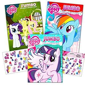 my little pony coloring book super set with stickers 3 jumbo books approximately 200 pages and 30 my little pony stickers total featuring rainbow dash - Mlp Coloring Book