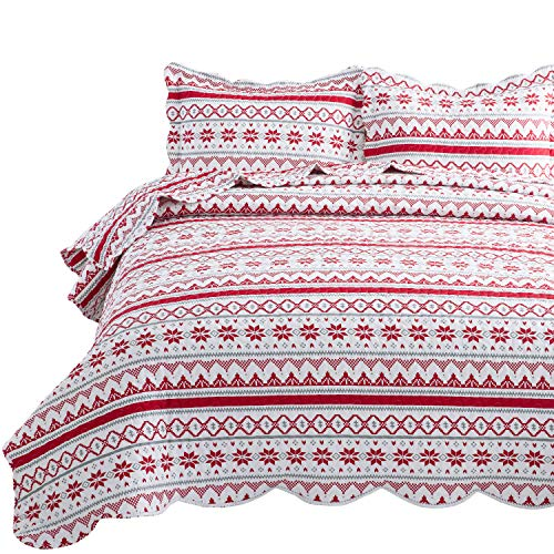 Bedsure Christmas Quilt Set Full/Queen Size (90x96 inches) - Festive Printed Pattern - Soft Microfiber Lightweight Coverlet Bedspread for All Season - 3-Piece Bedding (1 Quilt + 2 Pillow Shams) (Bedding Thick Quilt)
