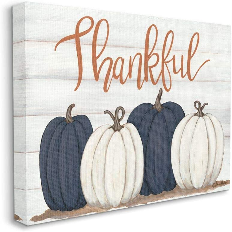 Stupell Industries Autumn Farm Pumpkin Harvest with Thankful Phrase Wall Art, 16 x 20, Off-White