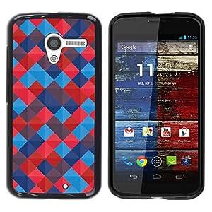 Paccase / SLIM PC / Aliminium Casa Carcasa Funda Case Cover para - Quilted Blued Red Pattern Tiles - Motorola Moto X 1 1st GEN I XT1058 XT1053 XT1052 XT1056 XT1060 XT1055