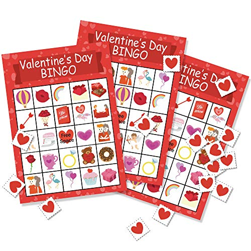 Omgouue Valentine's Day Bingo Game Party Favor - Party Supplies for Kids 24 Player ()