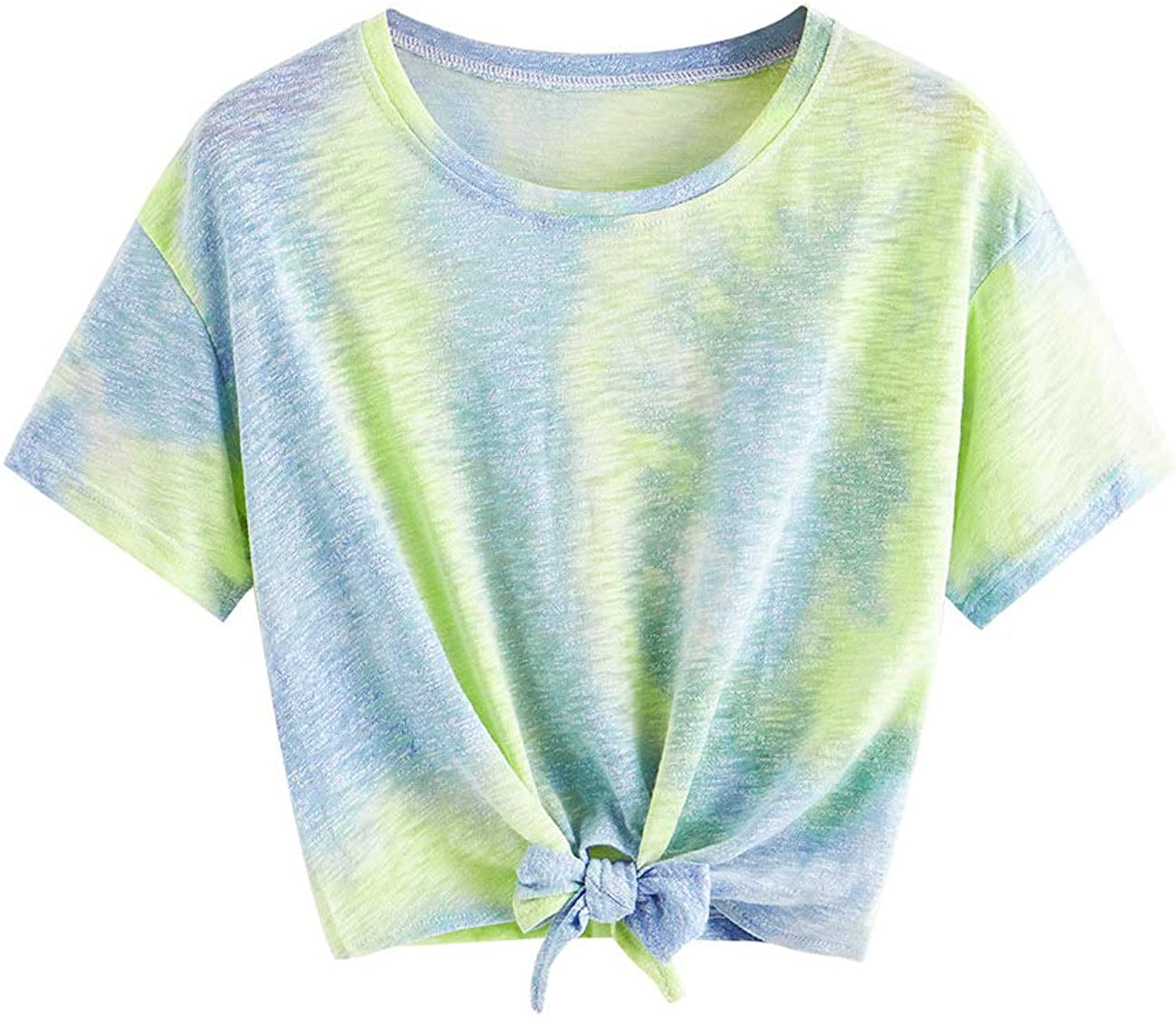 Romwe Women's Short Sleeve Tie Front Knot Casual Crop Top Tee T-Shirt