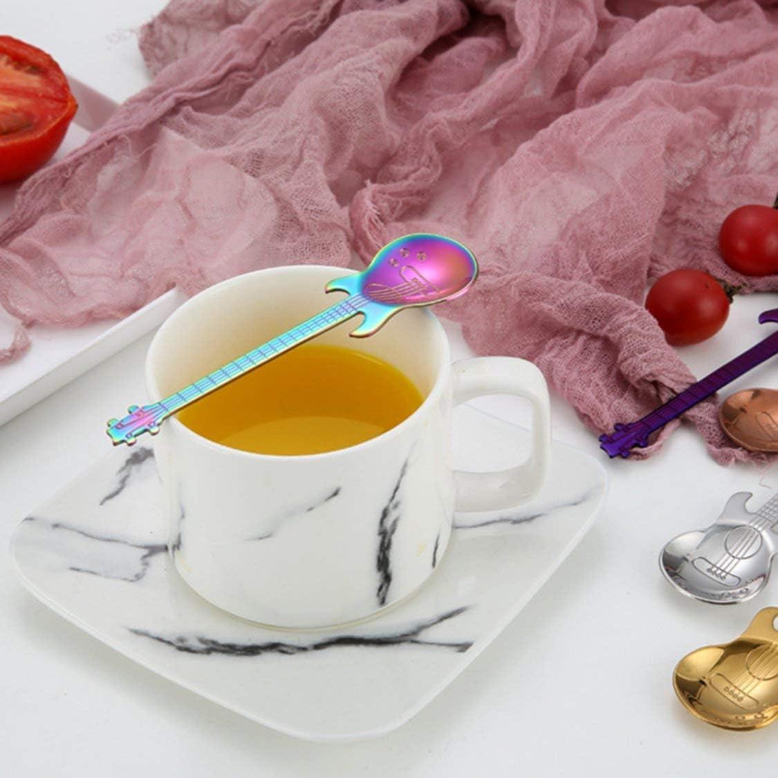 VIGE Gitarre Kaffee-L/öffel-Set Edelstahl Dessert Eiscreme-L/öffel Kaffeel/öffel Kaffeezubeh/ör Bestecke Trink Werkzeuge-Rose Gold