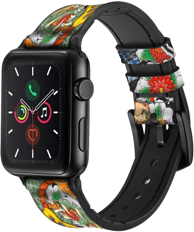 CA0054 Japan Tattoo Leather & Silicone Smart Watch Band Strap for Apple Watch iWatch Size 42mm/44mm