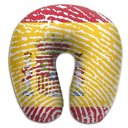 KIENGG Spain Flag Fingerprint Memory Foam U-Shaped Pillow,Unique Travel Rest Pillow For Neck Pain,Breathable Soft Comfortable Adjustable by KIENGG