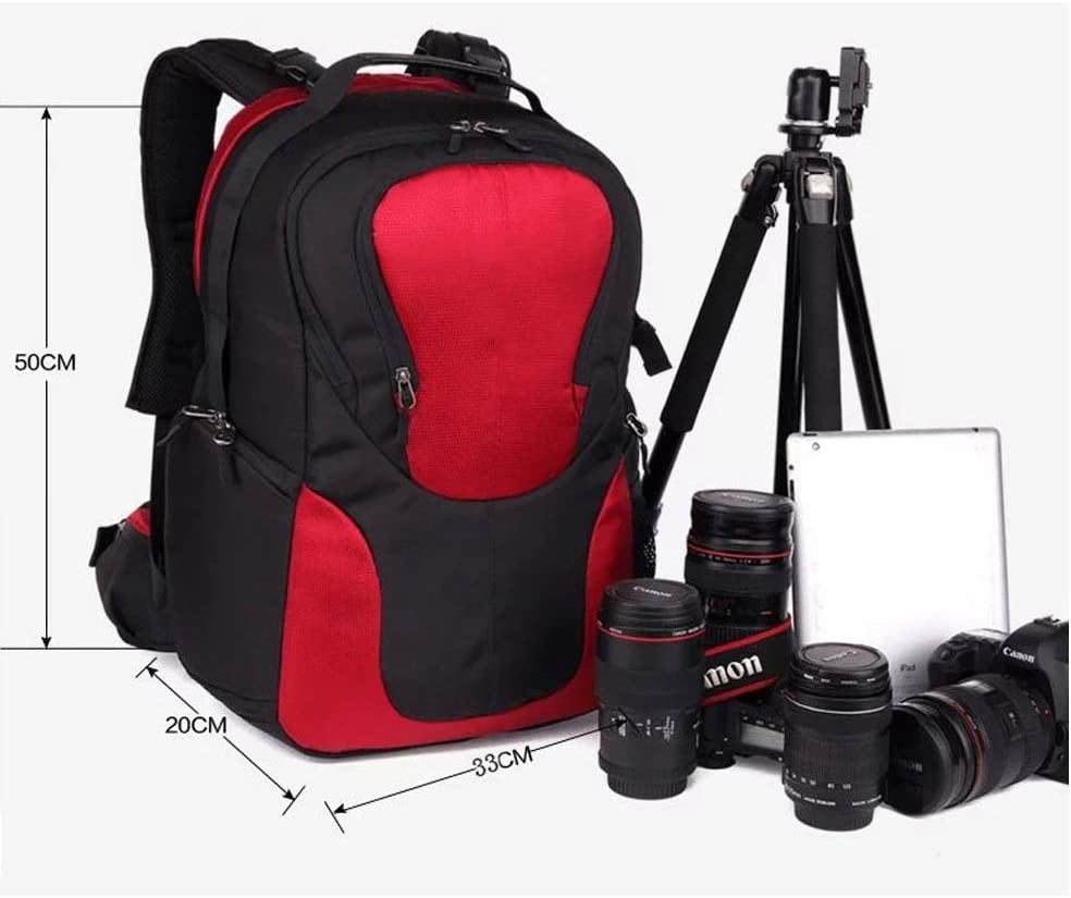 Hshihai Carrier-Bag Knapsack New Large Capacity Multi-Function Shockproof Camera Bag Travel Anti-Theft Backpack with Rain Cover Tripod Lens and Accessories 33 20 50cm Black Handbag