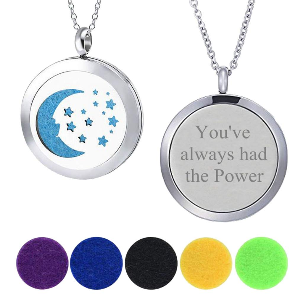 25MM Essential Oil Diffuser Moon & Stars Pendant Enhancers Necklace You've Always had The Power by Modogirl
