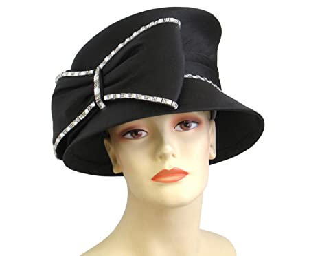 9bc37cfc43c Ms Divine Women s Satin Year Round Church Derby Formal Dress Hats  H849 ( Black)