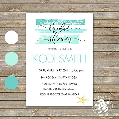 Set of 12 Personalized Bridal Wedding Shower Invitations and Envelopes with Watercolor Aqua Starfish Ocean Beach Travel NVB8045 by Heads Up Girls (Image #2)