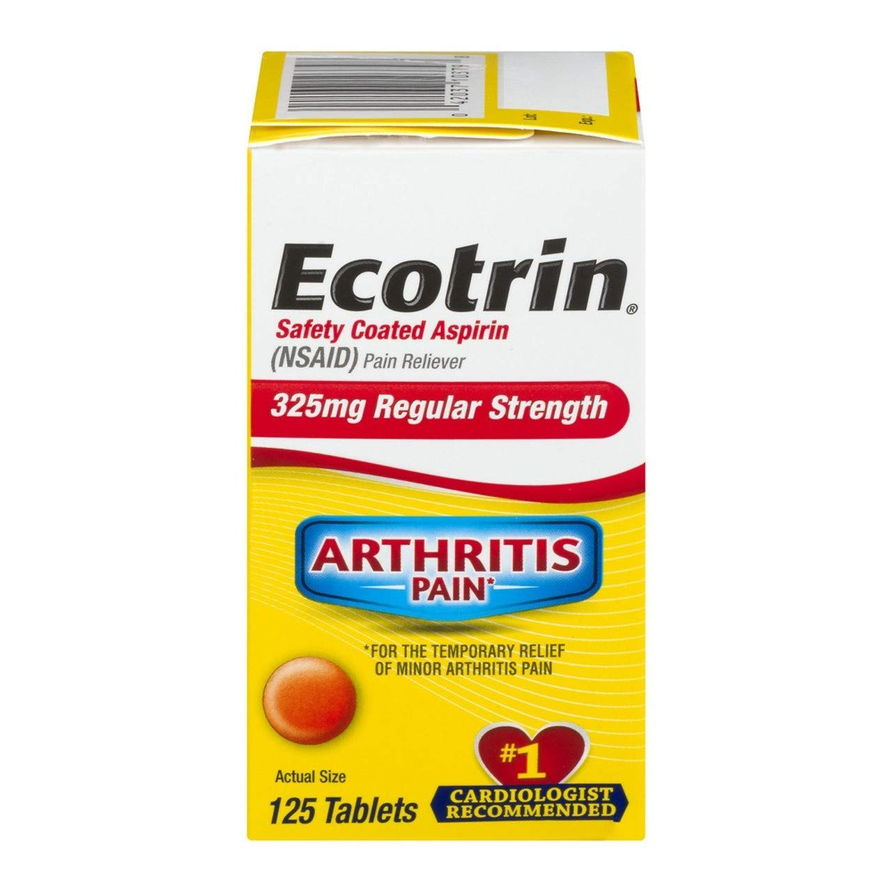Ecotrin 325 mg Regular Strength Tablets 125 ea (Pack of 3) by Ecotrin