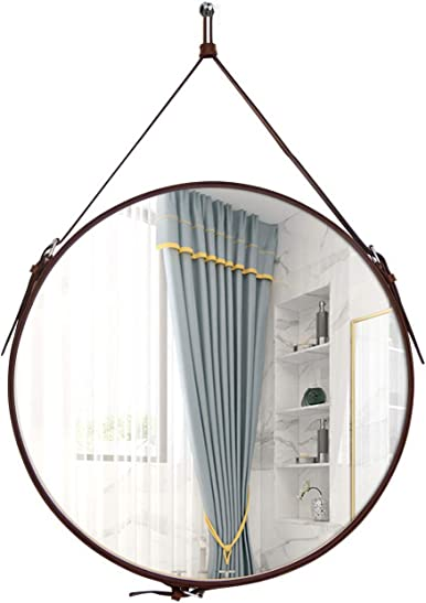 HofferRuffer Round Wall Mirror Strap Mirror Decorative Hanging Mirror