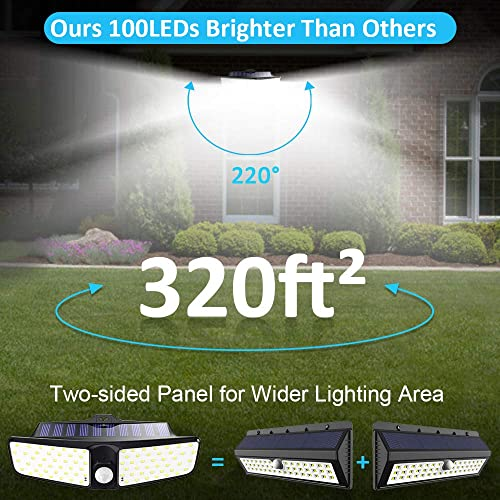 Comsoon Solar Lights Outdoor, 100 LED Motion Sensor Light, IP65 Waterproof Outdoor Wall Light with 220 Wide Angle, Bright 2000LM Security Night Light for Garage, Yard, Pathway, Deck 1 Pack