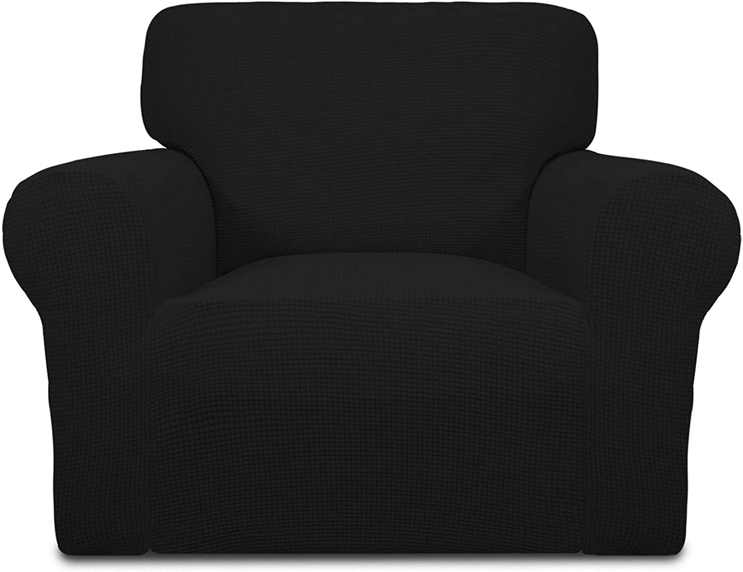 Easy-Going Stretch Oversized Chair Sofa Slipcover 1-Piece Couch Sofa Cover Furniture Protector Soft with Elastic Bottom for Kids Spandex Jacquard Fabric Small Checks Black