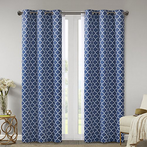 Comfort Spaces - Windsor Indigo Ogee Printed Window Curtain (2 Panels) With Voile Sheer (2 Panels) - 42x108 inch panel - Blackout Room Darkening - Grommet Top