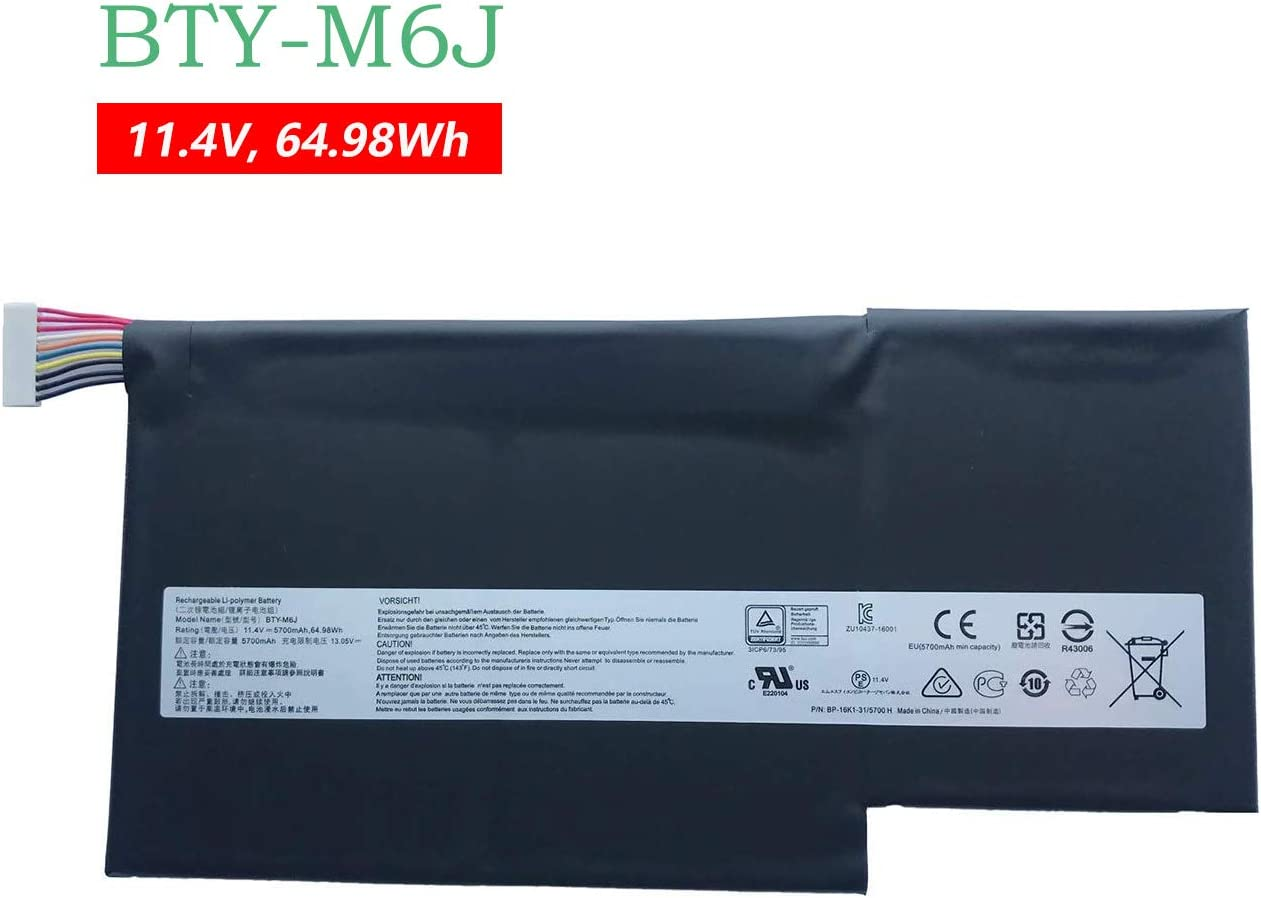BOWEIRUI BTY-M6J (11.4V 64.98Wh 5700mAh) Laptop Battery Replacement for MSI GS63 GS63VR GS73 GS73VR 6RF Stealth Pro 6RF-001US BP-16K1-31 Series BTY-M6J BTY-U6J BP-16K1-31